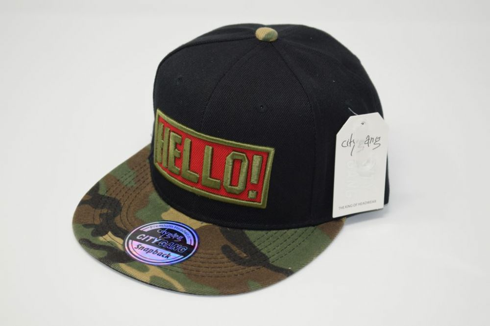 C4891, HELLO Black/Camouflage City Gange Snapback Caps  fits all sizes, 20% cotton and 80% polyester